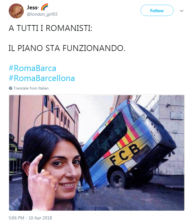 virginia raggi vittoria roma barcellona champions league - 17