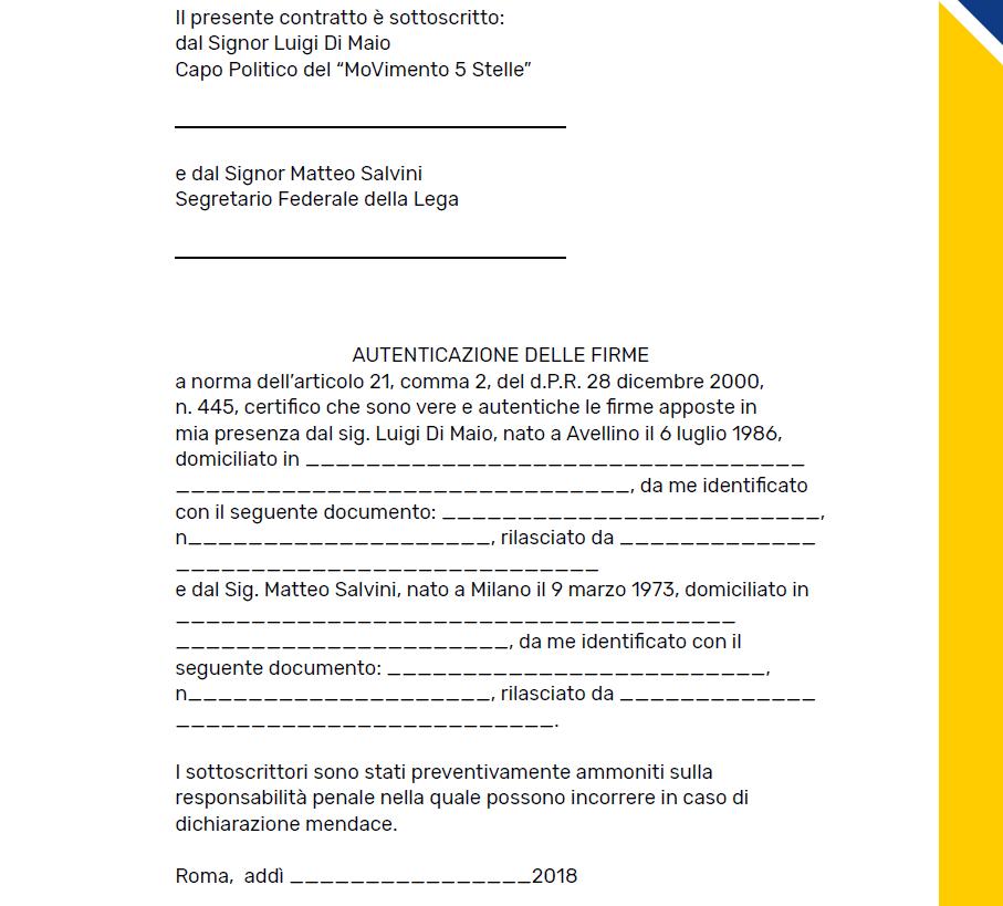 contratto governo m5s lega - 2