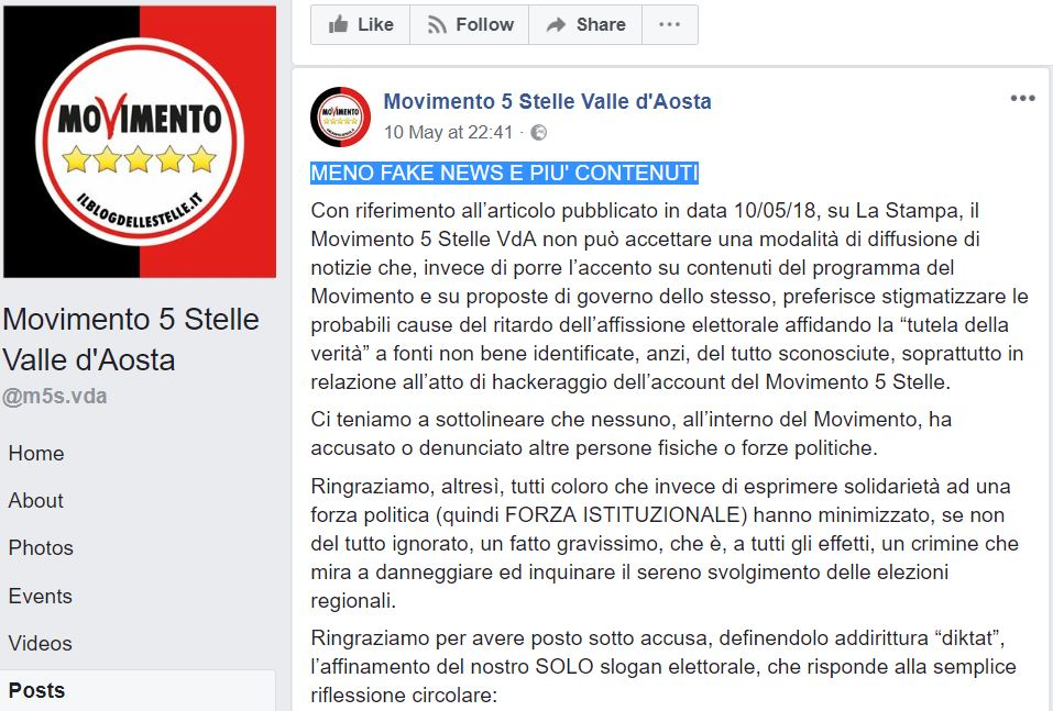 movimento 5 stelle valle d'aosta