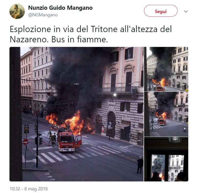 Roma, autobus a fuoco in centro: tanta paura ma nessun ferito